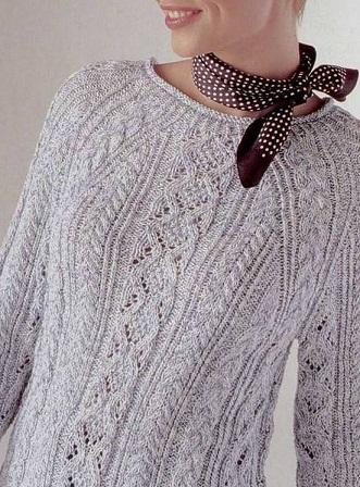 Красивый пуловер спицами